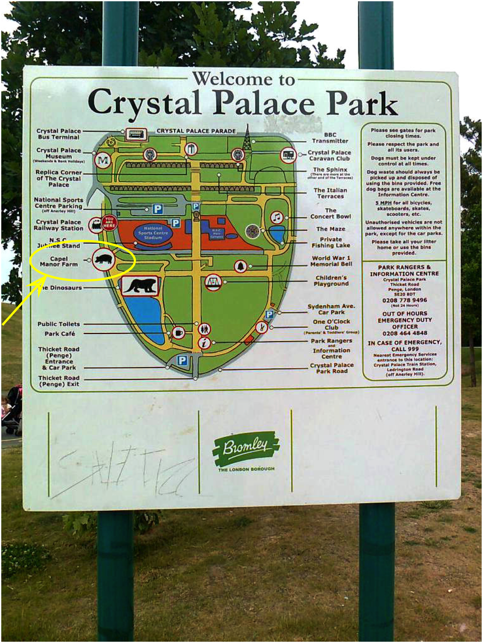 plan of Crystal Palace Park - signage